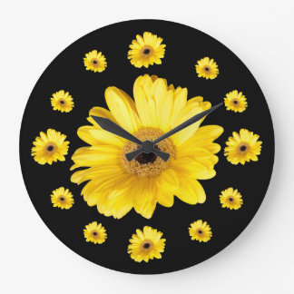 Yellow Gerber Daisy Photographs Large Clock