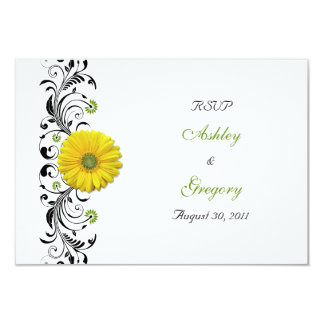 Yellow Gerbera Daisy Black Green Floral Reply Card