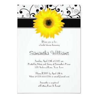 Yellow Gerbera Daisy Black Scroll Bridal Shower Card