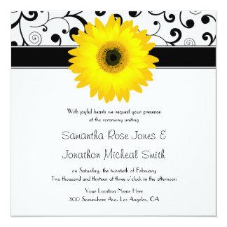 Yellow Gerbera Daisy Black Scroll Design Wedding Card
