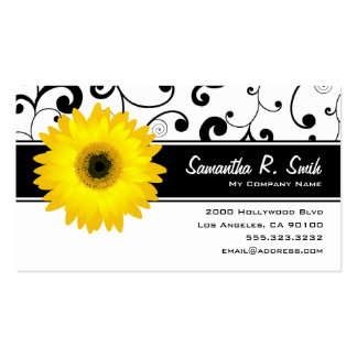 Yellow Gerbera Daisy Black & White Scroll Business Card Templates