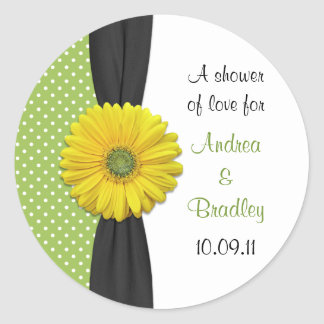 Yellow Gerbera Daisy Favor Tag Stickers