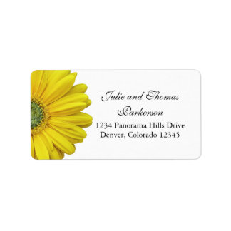Yellow Gerbera Daisy Flower Wedding Address Label