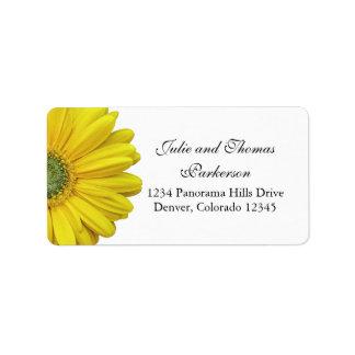 Yellow Gerbera Daisy Flower Wedding Address Label