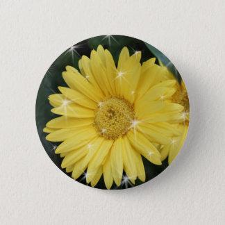 yellow gerbera daisy flower with stars pinback button