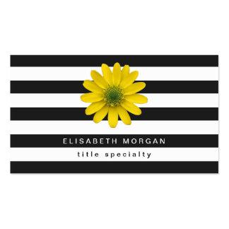 Yellow Gerbera Daisy Flowers Black White Stripes Business Card