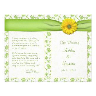 Yellow Gerbera Daisy Green Floral Wedding Program