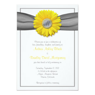 Yellow Gerbera Daisy Grey Ribbon Invitation