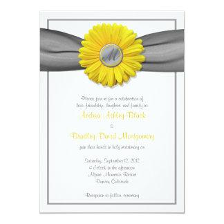 Yellow Gerbera Daisy Grey Ribbon Invitation