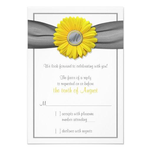 Yellow Gerbera Daisy Grey Ribbon RSVP reply card
