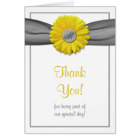 Yellow Gerbera Daisy Grey Ribbon Thank You Card