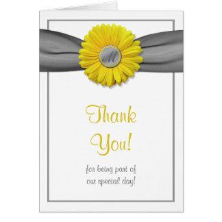 Yellow Gerbera Daisy Grey Ribbon Thank You Card