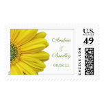 Yellow Gerbera Daisy Monogram Wedding Postage