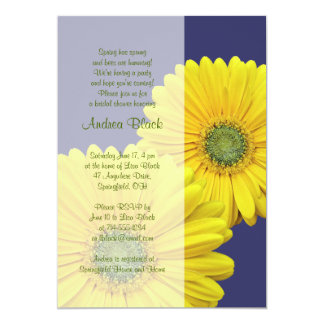 Yellow Gerbera Daisy Navy Bridal Shower Invitation