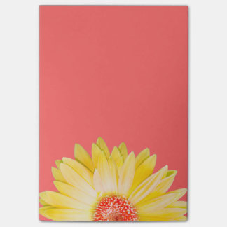 Yellow Gerbera Daisy on Pink Post-it Notes