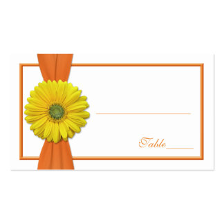 Yellow Gerbera Daisy Orange Wedding Place Card Double-Sided Standard Business Cards (Pack Of 100)