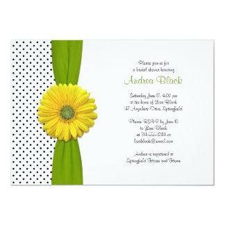 Yellow Gerbera Daisy Polka Dot Bridal Shower Card