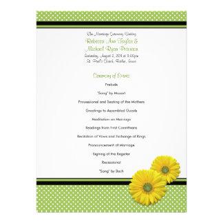 Yellow Gerbera Daisy Polka Dot Wedding Program Invitations