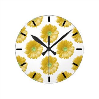Yellow gerbera daisy round clock