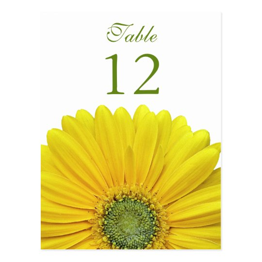 Yellow Gerbera Daisy Table Number Card