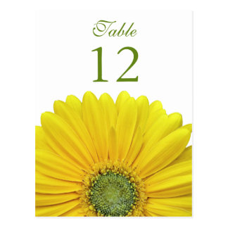 Yellow Gerbera Daisy Table Number Card Postcard