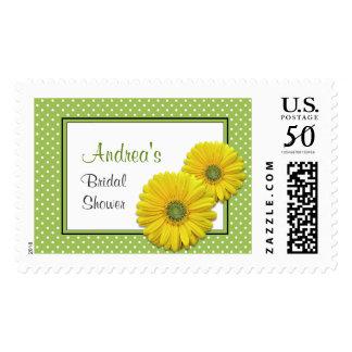 Yellow Gerbera Daisy Wedding Bridal Shower Postage