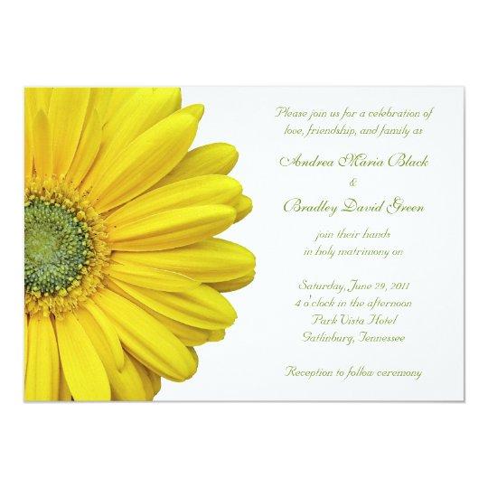 Hot Pink Gerbera Daisy White Wedding Invitation 5 X 7: Yellow Gerbera Daisy Wedding Invitation