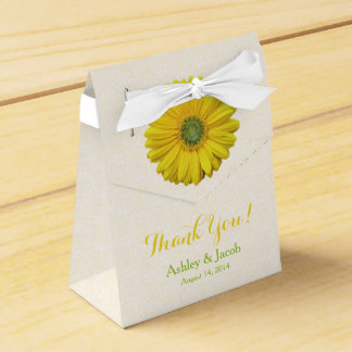 Yellow Gerbera Daisy White Lace Wedding Thank You Favor Box