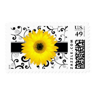 Yellow Gerbera Daisy with Black Scroll Design Postage