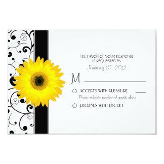 Yellow Gerbera Daisy with Black Scroll Design RSVP Card