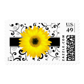 Yellow Gerbera Daisy with Black Scroll Design Stamp