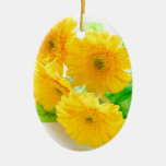yellow Gerbera flowers Double-Sided Oval Ceramic Christmas Ornament