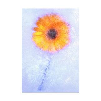 Yellow Gerbera in Ice Canvas Print
