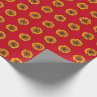Yellow Gerbera on Red Wrapping Paper