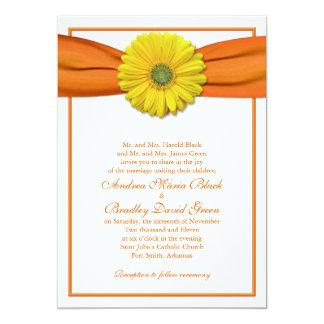 Yellow Gerbera with Orange Ribbon Invitation
