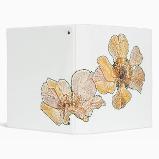 Yellow geum pencil drawing customizable binder