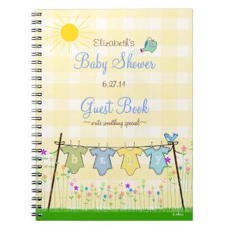 Yellow Gingham Adorable Baby Shower Guest Book |