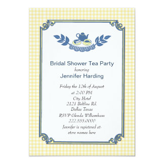 Yellow Gingham Bridal Shower Tea Party Invitation