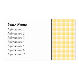 Yellow Gingham Check Pattern. Business Card