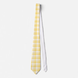Yellow Gingham Check Pattern. Neck Tie