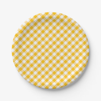 Yellow Gingham Check Pattern Paper Plate