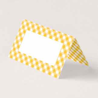Yellow Gingham Check Pattern Place Card