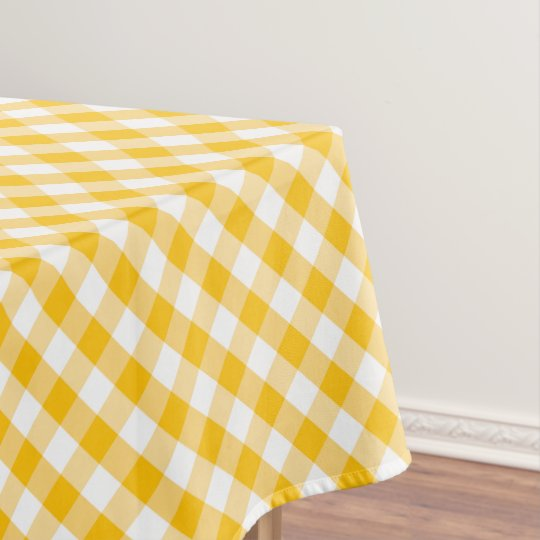 Yellow Gingham Check Pattern Tablecloth