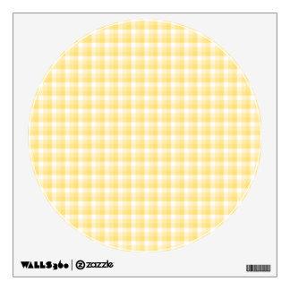 Yellow Gingham Check Pattern. Wall Skin