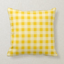 Yellow gingham check plaid pattern throw pillow