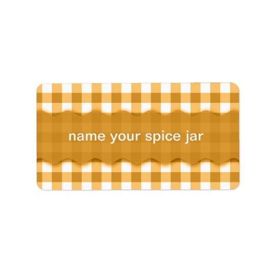 Yellow Gingham Checkered Design Kitchen Label