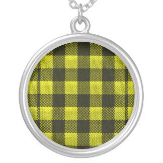 Yellow Gingham Checkered Pattern Burlap Look Silver Plated Necklace