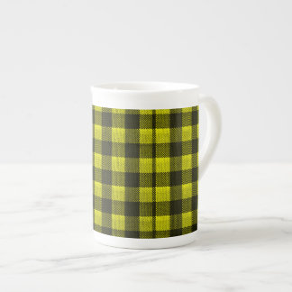 Yellow Gingham Checkered Pattern Burlap Look Tea Cup