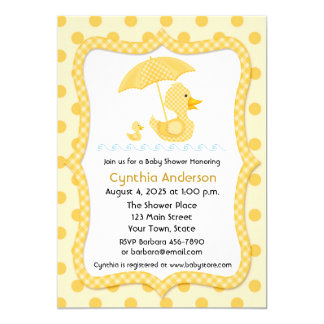 Yellow Gingham Duck with Umbrella, Baby Shower Card