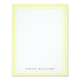 Yellow Gingham Flat Thank You Notes Card
